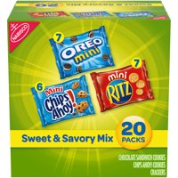 Nabisco Sweet & Savory Mix Variety Pack, OREO Mini Cookies, Mini CHIPS AHOY! Cookies, and Mini RITZ Crackers, 20 Snack Packs