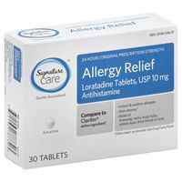 Signature Allergy Relief, 24 Hour, Original Prescription Strength, 10 mg, Tablets