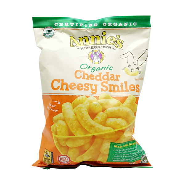 Annie's homegrown Organic Cheddar Cheesy Smiles, 4.8 oz
