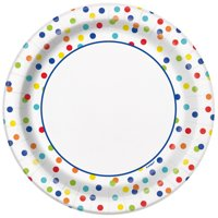 Dizzy Dots Paper Party Plates, 9in, 10ct