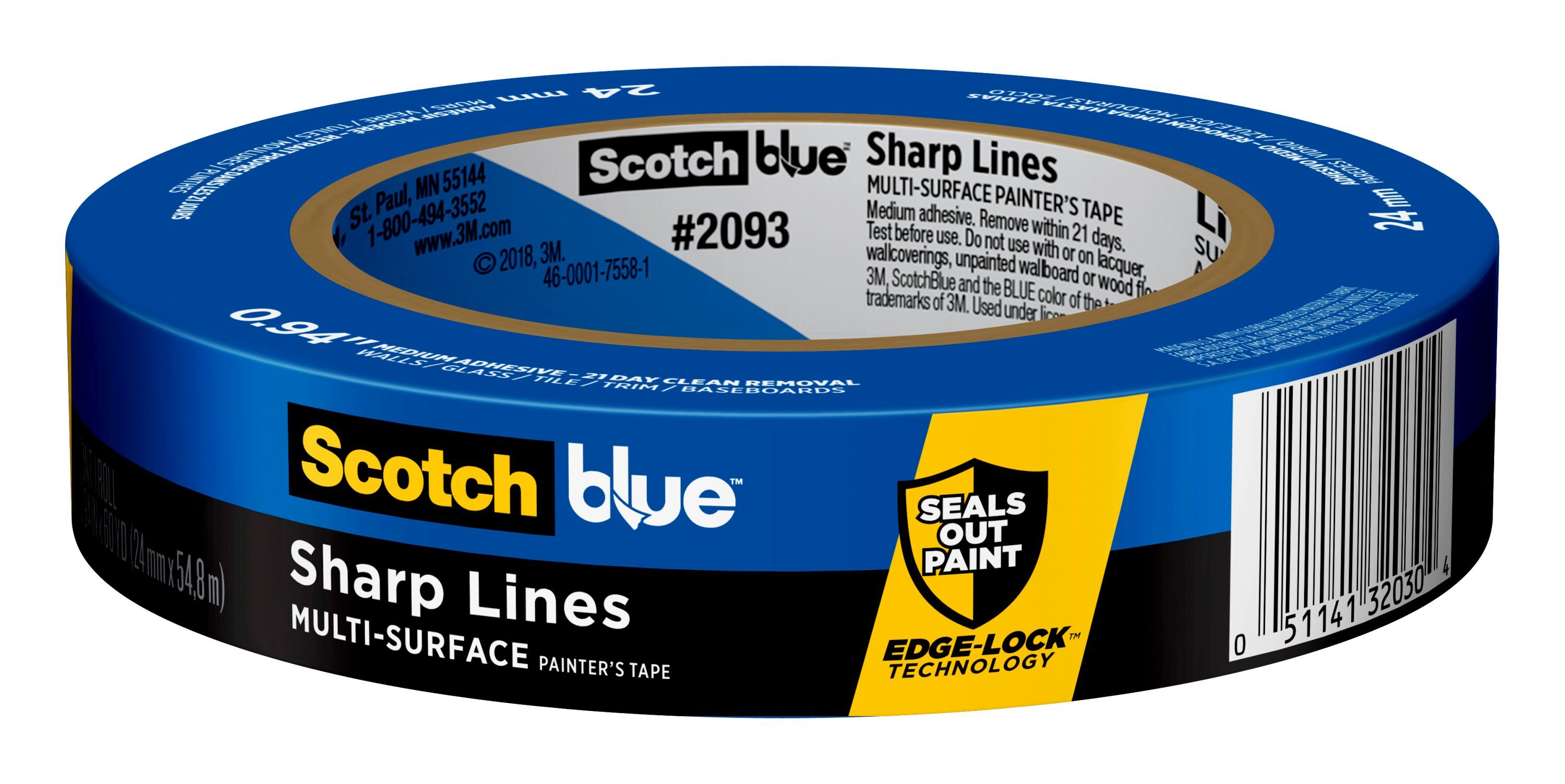 ScotchBlue Sharp Lines Painter's Tape, 0.94 in x 60 yd, 1 Roll/Pack