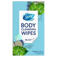 Secret Body Cleansing Deodorant Wipes - 15ct
