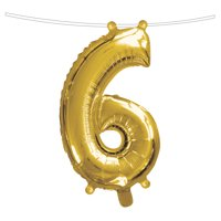 Ways to Celebrate Air-Filled Balloon, Number 6, Golden, 16 inches, 1 count
