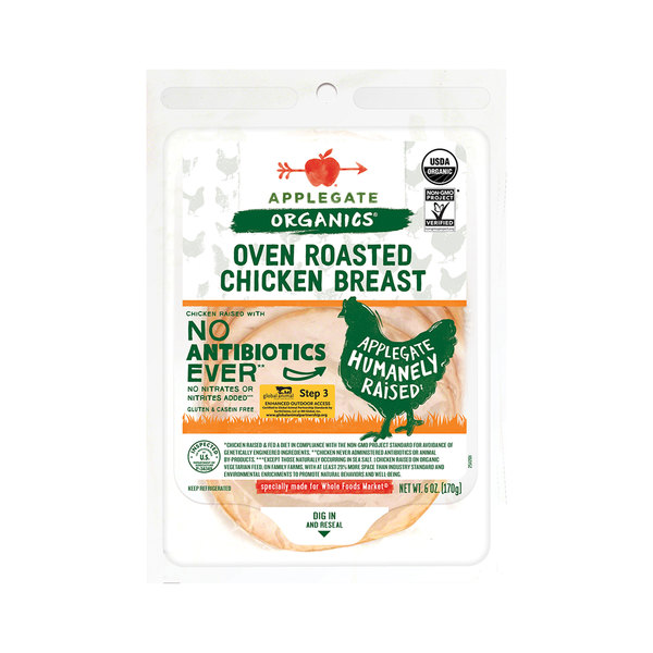 Applegate organics Organic Oven Roasted Chicken Breast, 6 oz