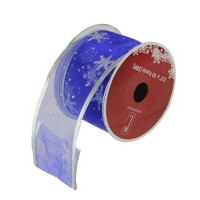 """Northlight Blue and Silver Glitter Snowflakes Christmas Wired Craft Ribbon 2.5"""" x 10 Yards"""