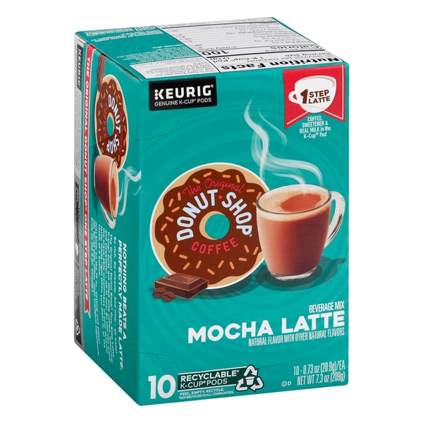 Donut Shop Coffee Beverage Mix, Mocha Latte, K-Cup Pods