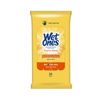 Wet Ones Antibacterial Hand Wipes Travel Pack, Tropical Splash, 20 Ct
