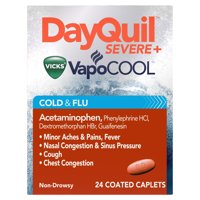 DayQuil SEVERE with Vicks VapoCOOL Daytime Cough, Cold and flu relief Caplets 24 Count