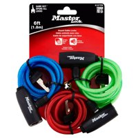 Master Lock Cable Lock 8127TRICC Keyed Bike Lock, 6 ft. Long, Color Assortment, 3 Pack Keyed Alike