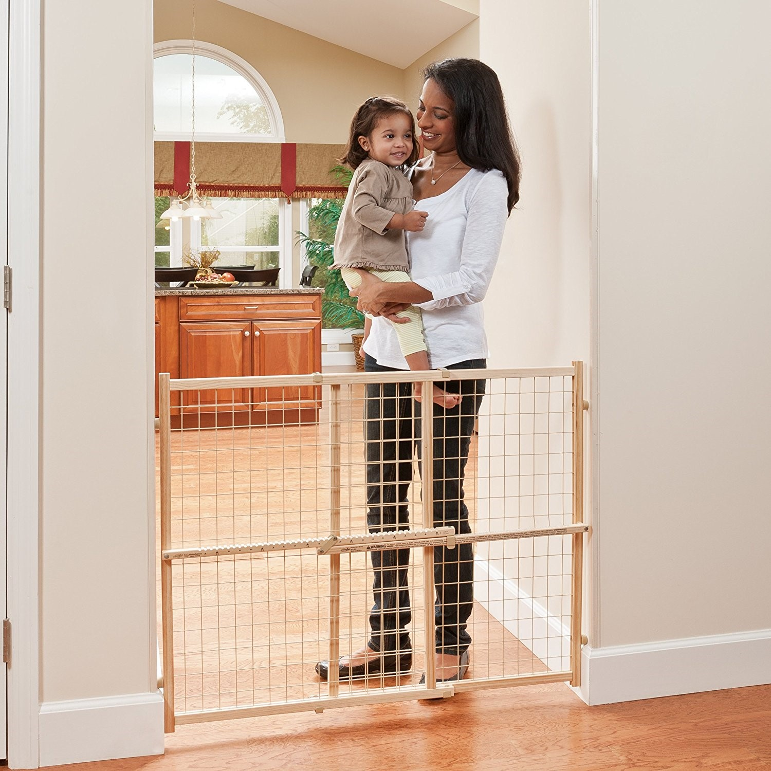 Evenflo Position and Lock Tall Natural Wood Baby Gate, 31