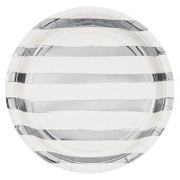"White and Silver Foil Striped 9"" Paper Plates - 8ct"