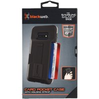 Blackweb Card Pocket Case with Holding Strap and Kickstand for Samsung Galaxy 10E - Black