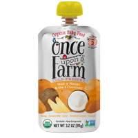 Once Upon a Farm Organic Gold-y Mango & the 3 Coconuts Baby Food, Stage 3, 3.2 oz