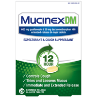 Mucinex DM 12-Hour Expectorant and Cough Suppressant Tablets, 20 Count