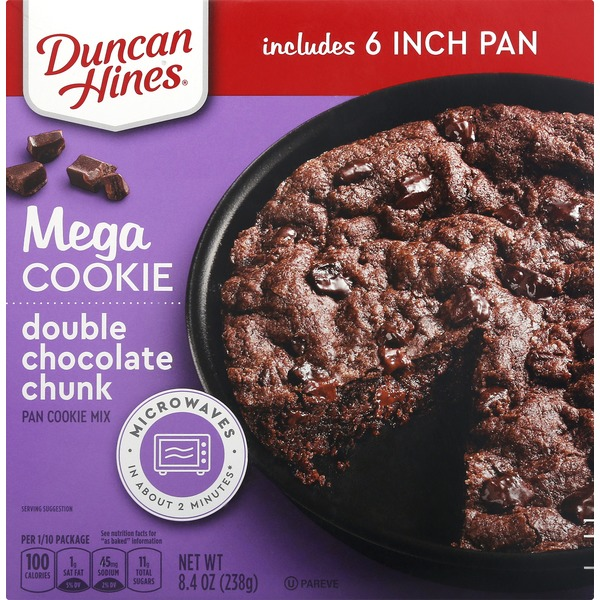 Ducan Hines Pan Cookie Mix, Double Chocolate Chunk, Mega Cookie