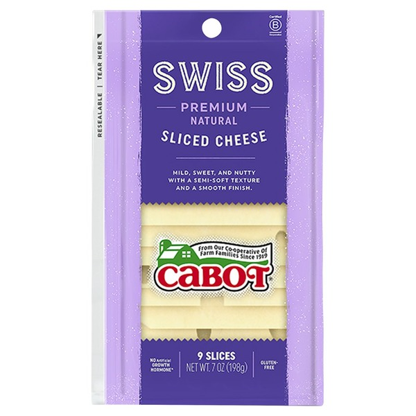 Cabot Cheese Swiss Cheese Slices