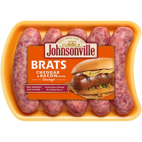 Johnsonville Cheddar Cheese & Bacon Brats 5 Count, 19 oz
