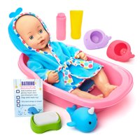 Kid Connection Bathing Baby Doll Play Set, 12 Pieces Included