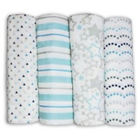 SwaddleDesigns Cotton Muslin Swaddle Blankets - Starshine Shimmer - 4pk - Blue