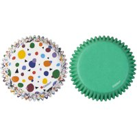 Wilton Geometric Print and Solid Green Cupcake Liners, 75-Count