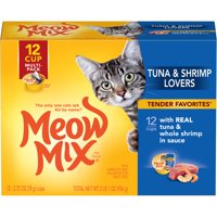 (12 Pack) Meow Mix Tender Favorites With Real Tuna & Whole Shrimp in Sauce, 2.75-Ounce Cups