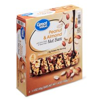 Great Value Peanut & Almond Nut Bars with Cocoa Drizzle & Peanut Butter, 5.6 oz, 4 Count