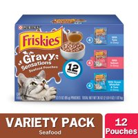 (12 Pack) Friskies Gravy Wet Cat Food Variety Pack, Gravy Sensations Seafood Pouches, 3 oz. Pouches