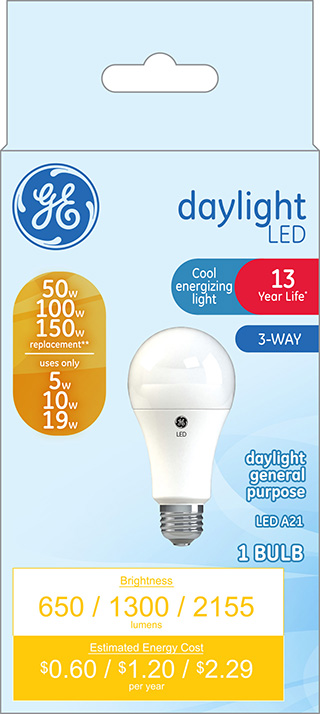 GE LED 5W/10W/19W (50W-100W-150W Equivalent) Daylight Color, 3-Way Light Bulb, Non-Dimmable, E26 Medium Base, 13 Year Life, 1pk