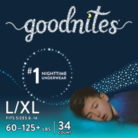 Goodnites Boys Bedtime Bedwetting Underwear, Size L/XL, 34 Count
