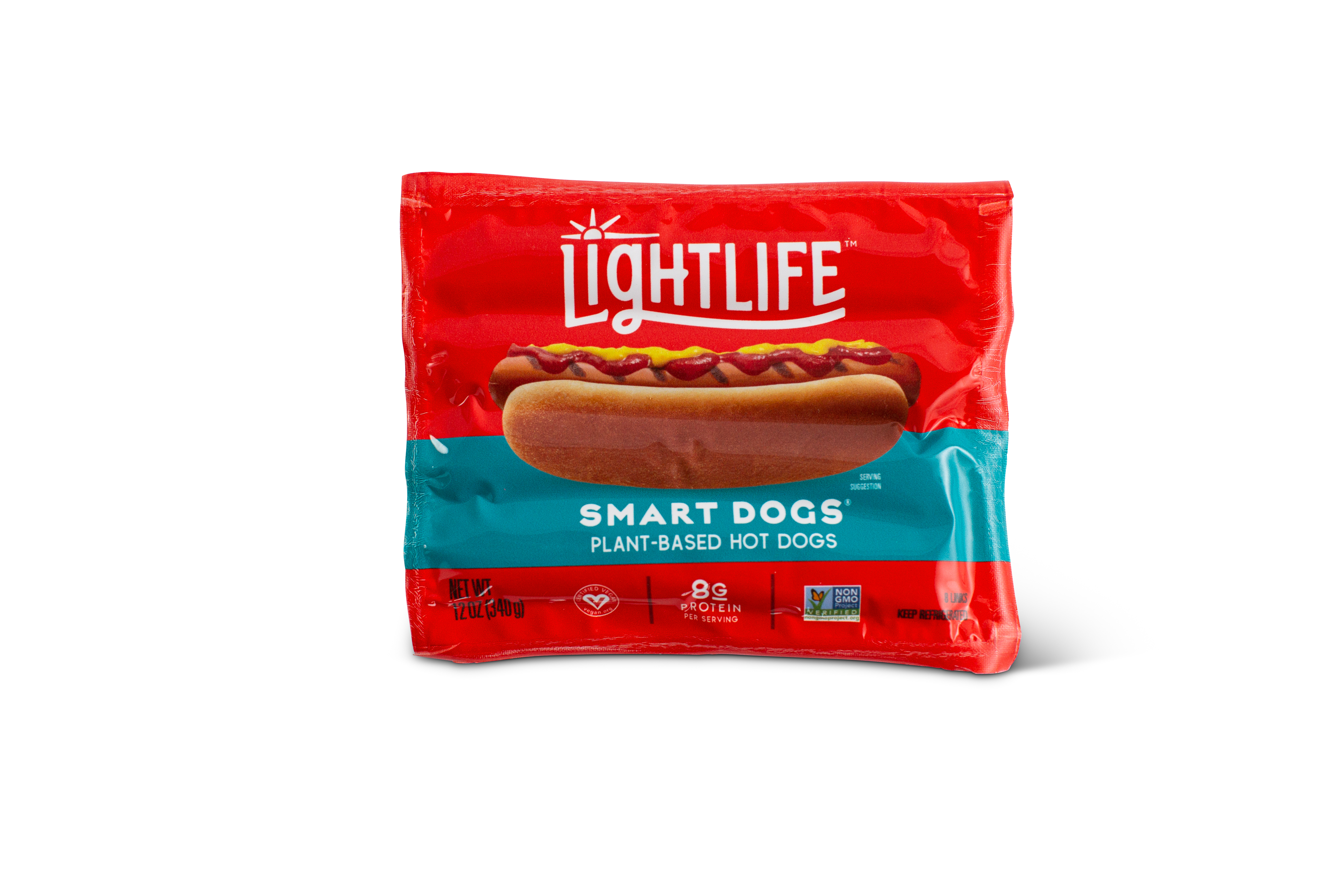 Lightlife Smart Dogs Meatless Veggie Hot Dogs, 8 count, 12 oz