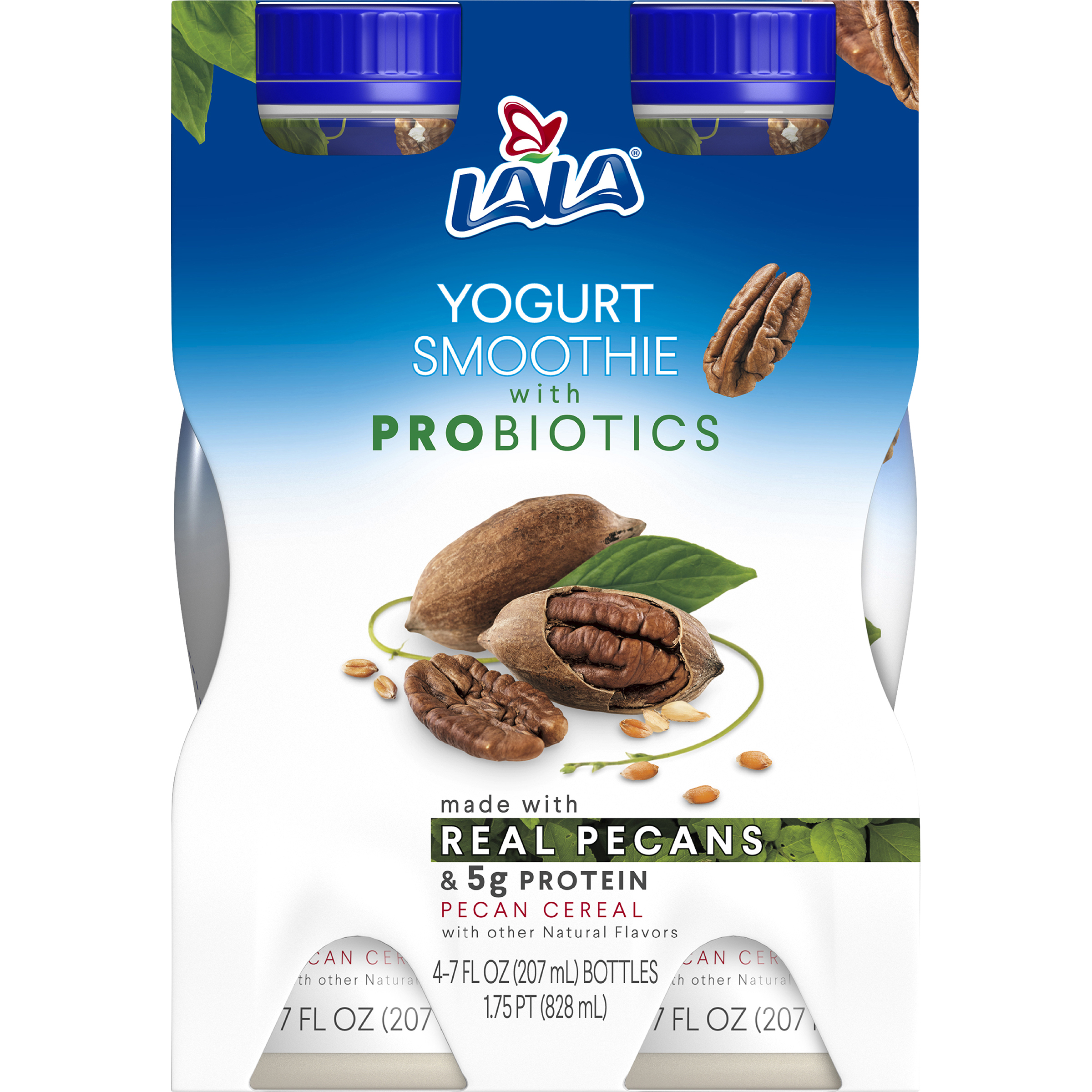 LALA Drinkable Yogurt Smoothie with Probiotics, 5g of Protein, Pecan Cereal, 7-Ounce Bottles (Pack of 4)