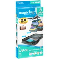 MagicBag® Travel Instant Space Saver Storage - Large - Double Zipper - 5 Pack