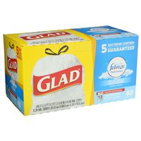 Glad OdorShield Tall Kitchen Drawstring Trash Bags, Febreze Fresh Clean