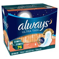 Always Overnight Ultra Thin with Flexi-Wings, 76 ct