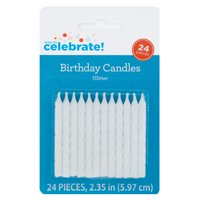 Spiral Birthday Candles, White Iridescent Glitter, 24ct