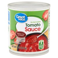 Great Value No Salt Added Tomato Sauce, 8 oz