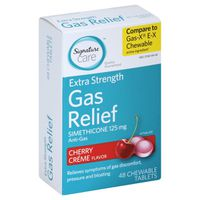 Signature Care Gas Relief, Extra Strength, 125 mg, Chewable Tablets, Cherry Creme Flavor