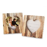 "12ct ""Rustic Romance"" Faux-Wood Heart Place Card Holder/Photo Frame"