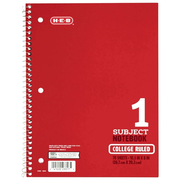 H-E-B 1-Subject Red College Ruled Notebook