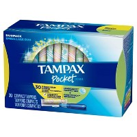 Tampax Pocket Pearl Duopack Regular/Super Absorbency Unscented Plastic Tampons - 30ct