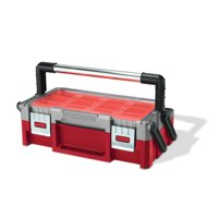 Keter 18-inch Cantilever Toolbox, Resin Tool and Hardware Storage, Red