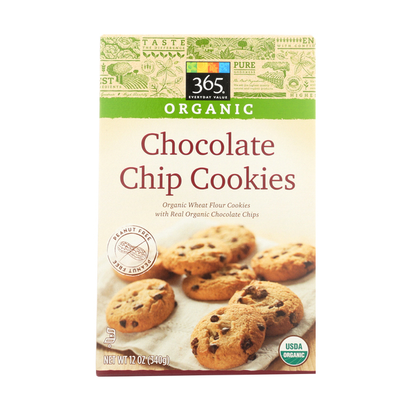 365 everyday value® Organic Wheat Flour Cookies Chocolate Chip Cookies (With Real Chocolate Chips), 12 oz