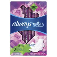Always Radiant Size 2 Heavy Flow Pads with Flexfoam, Pads, Light Clean Scent (Choose Count)