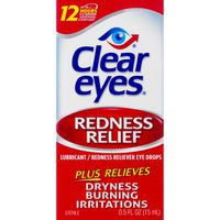 Clear Eyes Eye Drops, Redness Relief, Lubricant, Sterile, Box