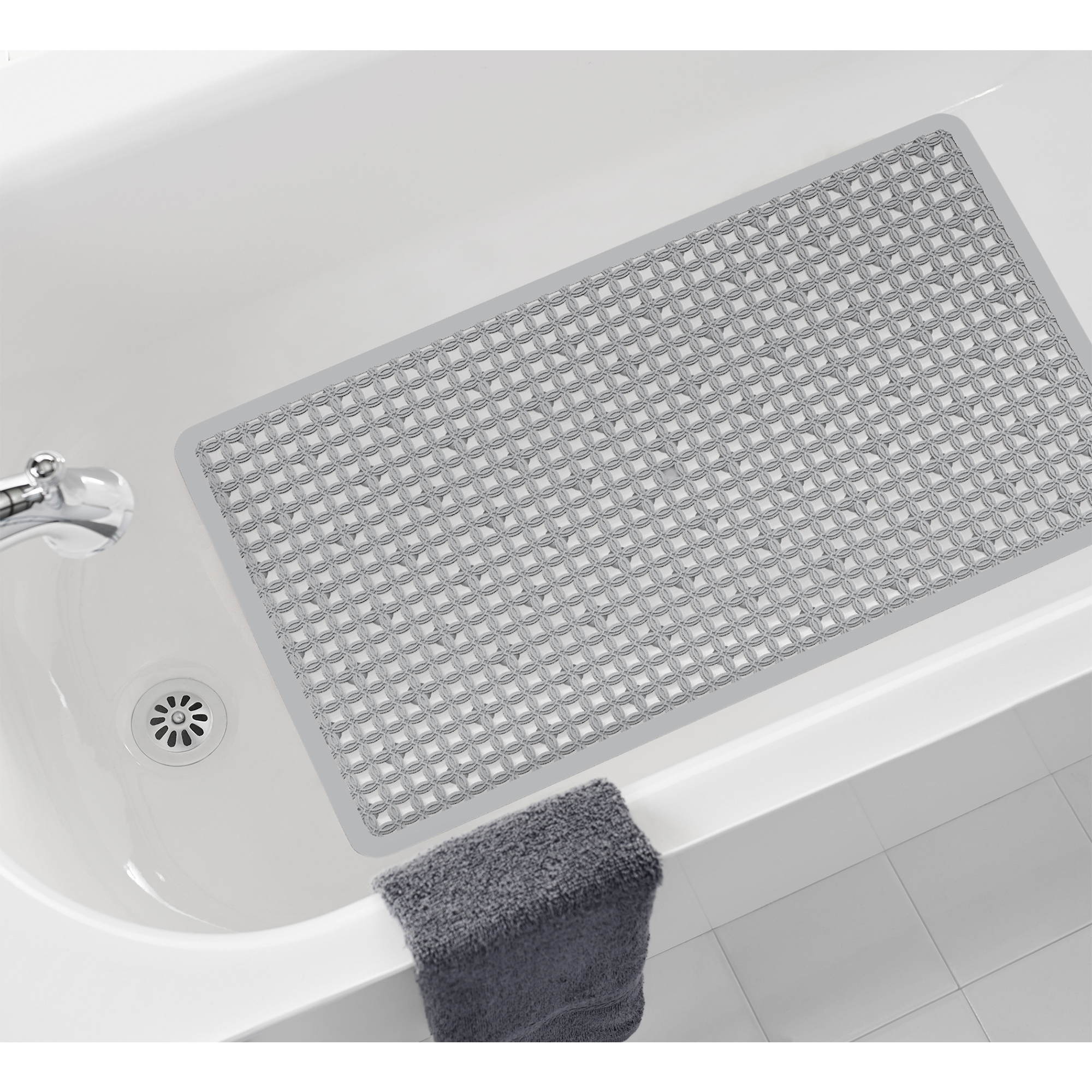Mainstays 15 in x 27 in Slip-Resistant Ring Textured Bath Mat, Gray