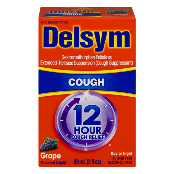 Delsym Day or Night 12 Hour Cough Relief Grape