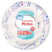 Great Value Everyday Paper Plates, 8 1/2', 45 Count