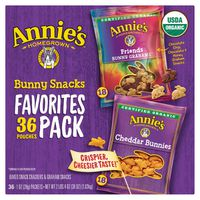 Annie's Organic Bunny Snack Favorites Pack, 36 x 1 oz