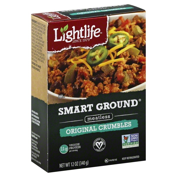 Lightlife Smart Ground Meatless Crumbles Original Vegan, Pareve, 12 oz