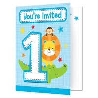 8ct One is Fun Boy Invitations